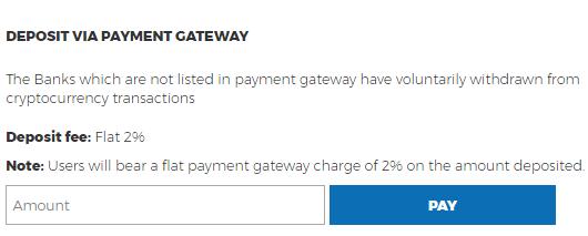 koinex deposit money via payment gateway