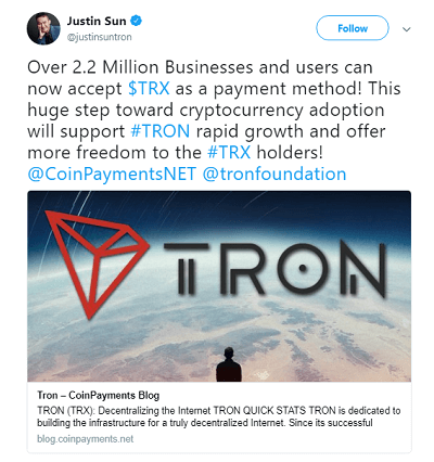 Tron (TRX) is now accessible to over 2.2 million businesses and users through CoinPayments