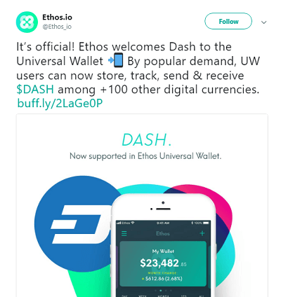 Ethos welcomes Dash to the Universal Wallet