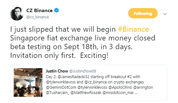 binance to open FIAT exchanege in Singapore