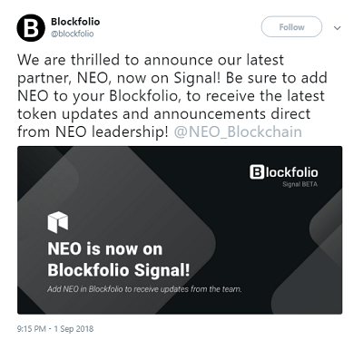 neo is now on blockfolio signal