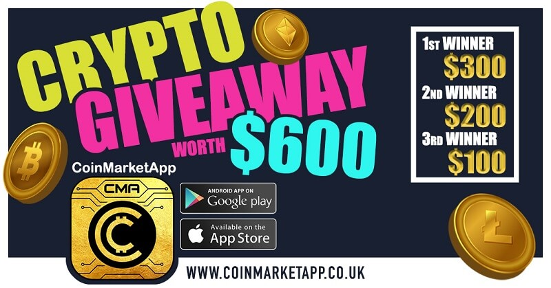 CoinMarketApp, an app for crypto traders is Giving Away $600 worth of Crypto