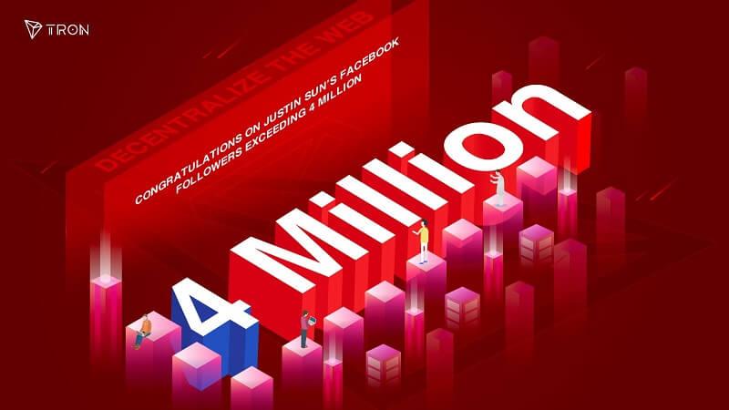 Justin Sun's Facebook Follower exceeds 4 Million