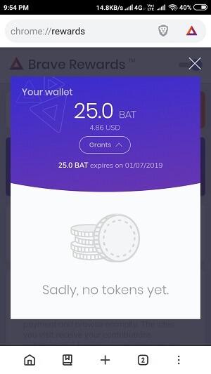 earn free 25 BAT from brave browser reward program