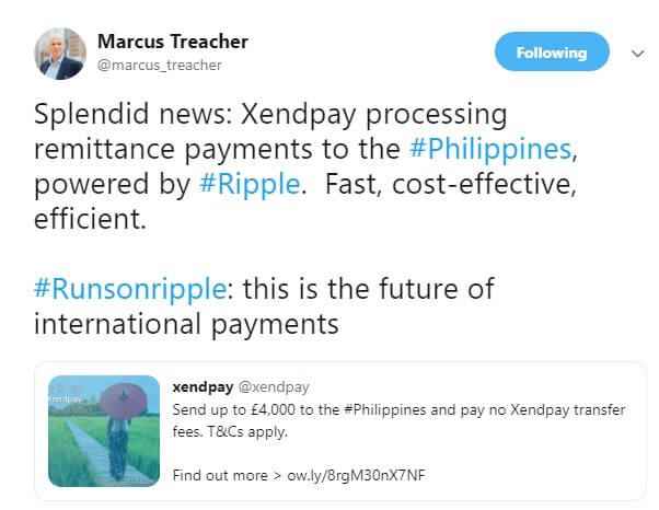 Marcus Treacher official tweet on xendpay partnership with Ripple XRP