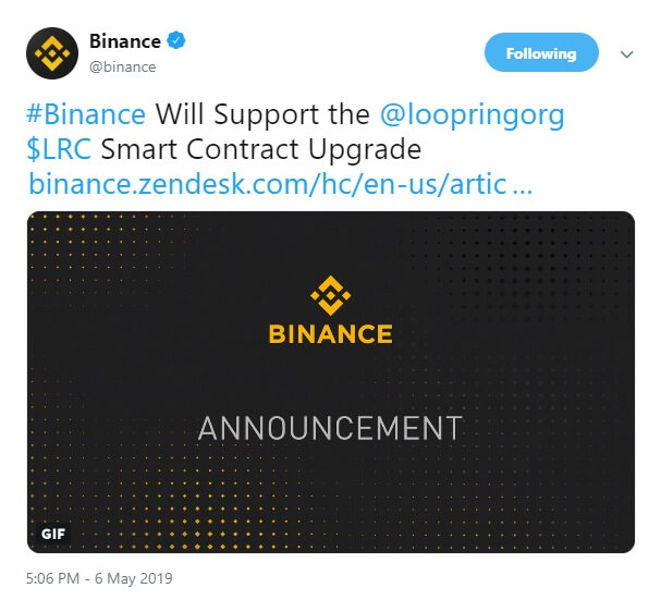 Binance to support upgrade to Loopring smart contract