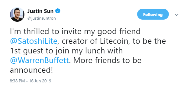 Justin Sun invites Litecoin's creator Charlie Lee for crypto lunch with Warren Buffett