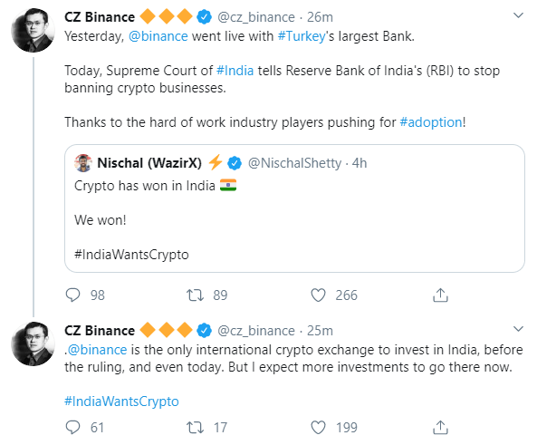 CZ Binance on lifting RBI ban
