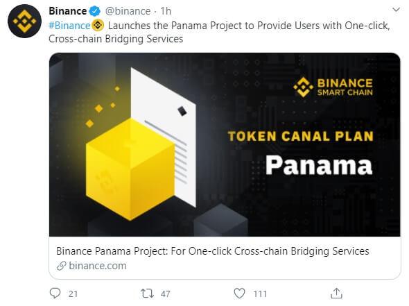 Binance tweet about Panama