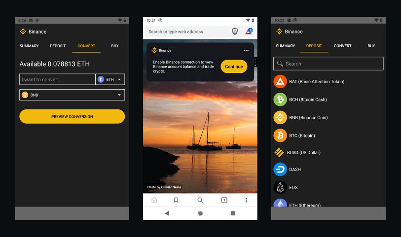 Binance Widget on Brave Android Browser