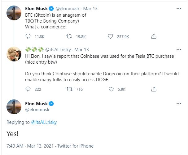 Elon Musk tweet on Dogecoin